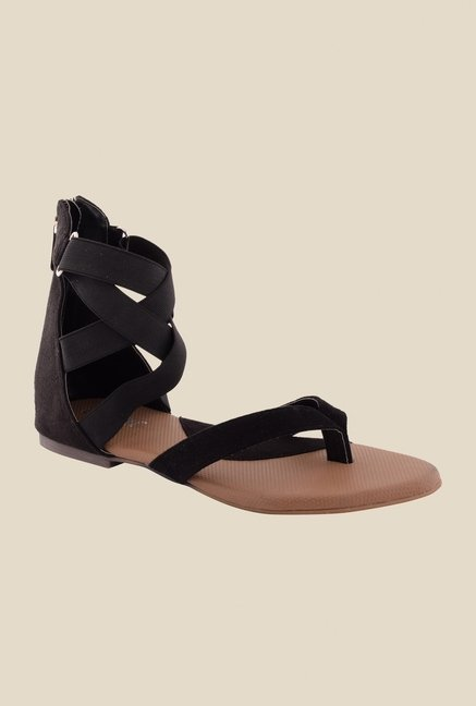 Cocoon Black Cross Strap Sandals