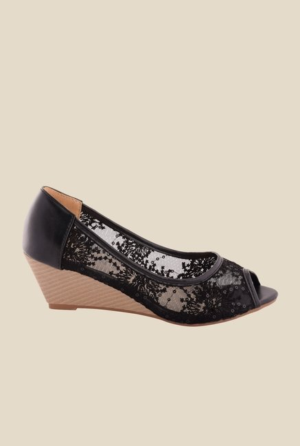 Cocoon Black Wedge Heeled Espadrilles