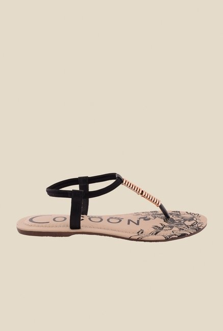 Cocoon Black & Bronze T-Strap Sandals