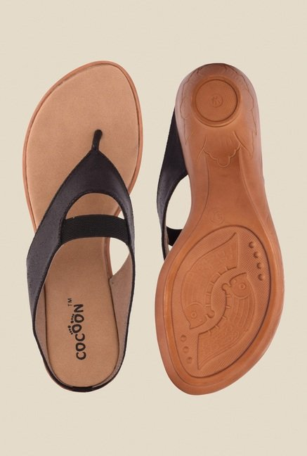 Cocoon Black Wedge Heeled Thong Sandals