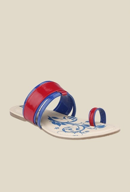 Cocoon Maroon & Blue Toe Ring Sandals
