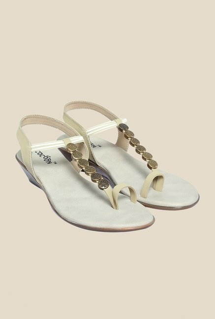 Cocoon Beige & Gold Sling Back Wedges
