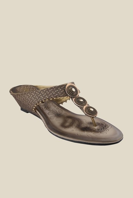 Cocoon Antique Bronze Wedge Thong Sandals