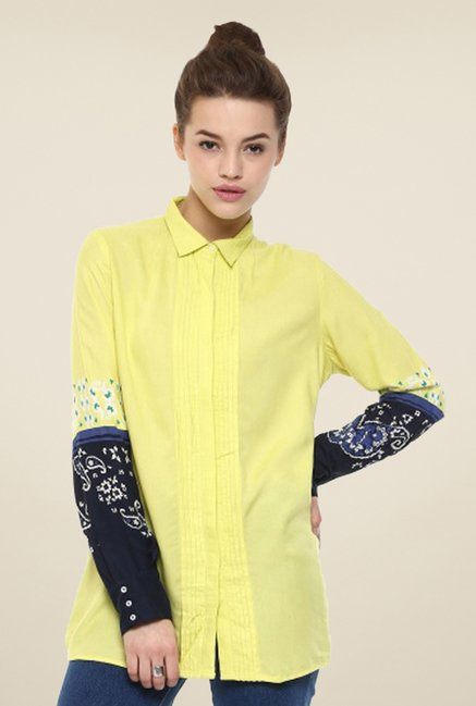 W Yellow Printed Top