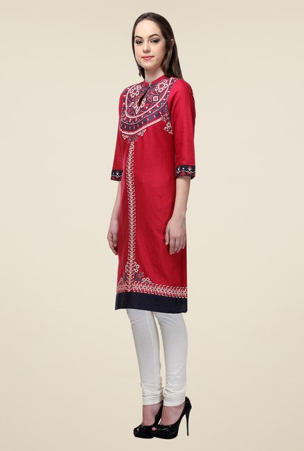 W Red Printed Kurta
