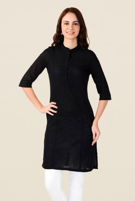 W Black Solid Kurta