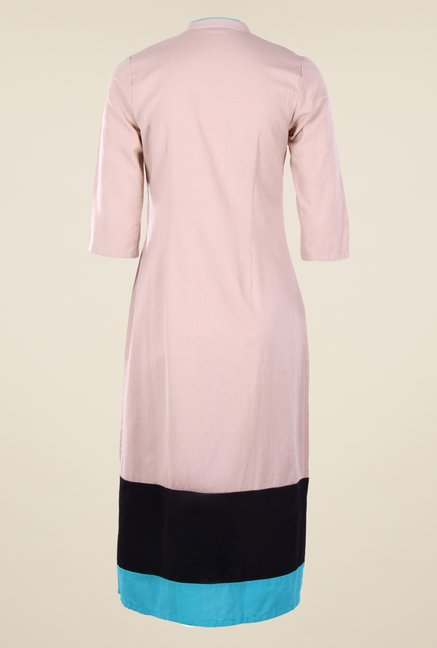 W Light Pink Printed Kurta