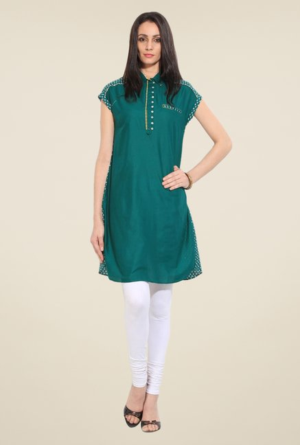 W Green Solid Kurta