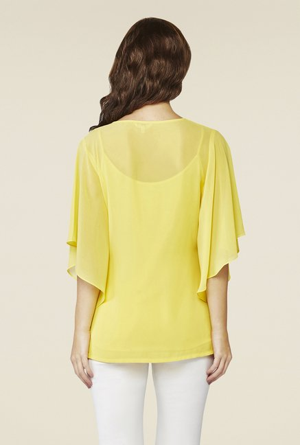 AND Yellow Embroidered Top