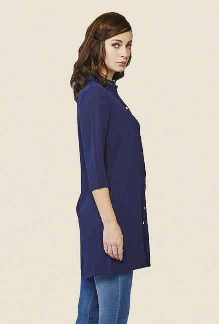 AND Blue Solid Tunic