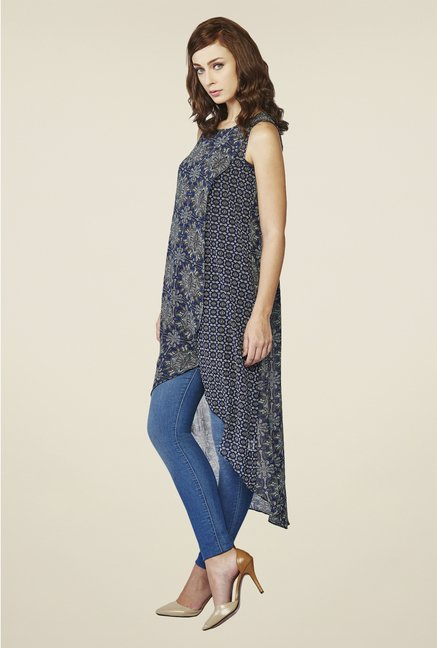 AND Grey & Navy Printed Tunic