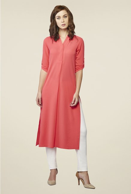 AND Coral Solid Kurta