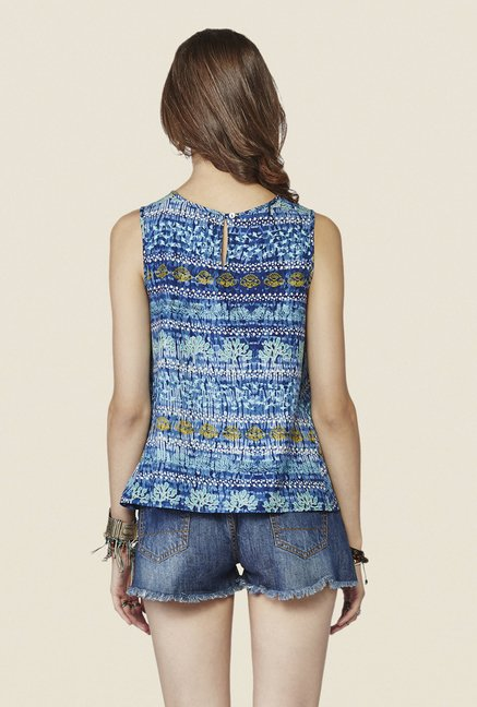 Global Desi Dark Blue Printed Top