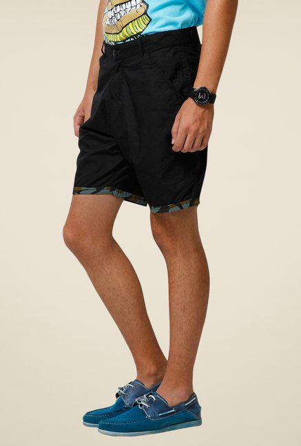 Yepme Black Denson Solid Shorts