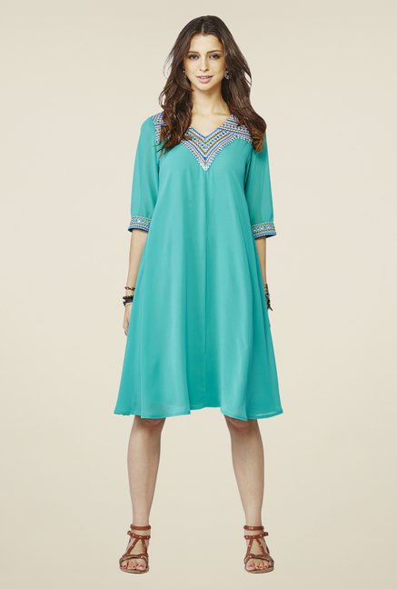 Global Desi Turquoise Solid kurta
