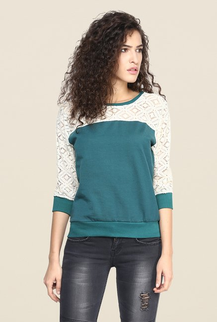Yepme Green Norah Lace Top