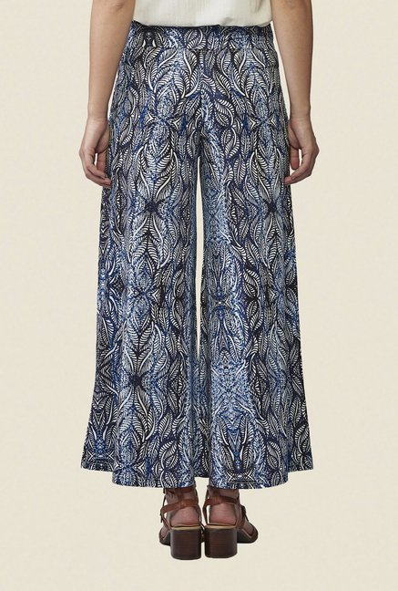 AND Blue & Black Printed Palazzos