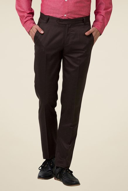 Yepme Brown Wareen Solid Trouser