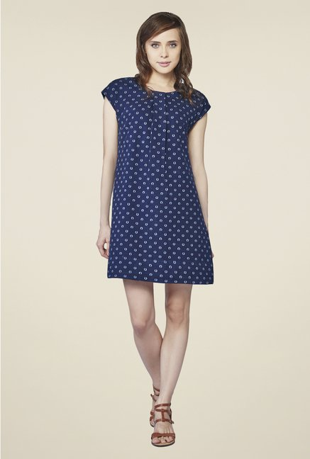 AND Navy Printed Dress