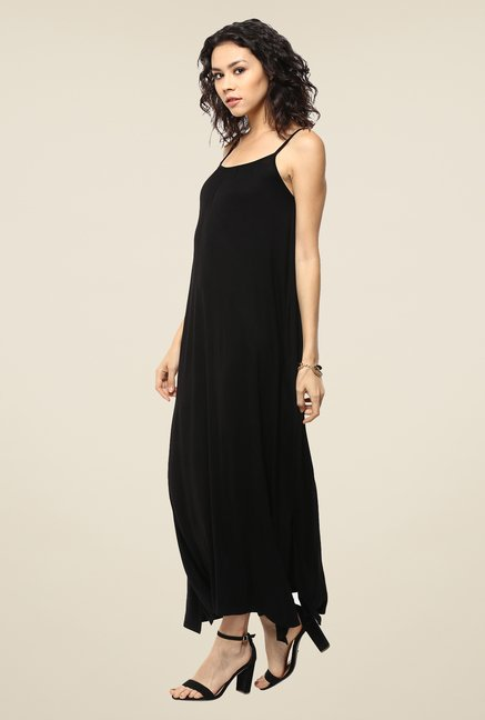 Femella Black Gathered Jersey Maxi Dress