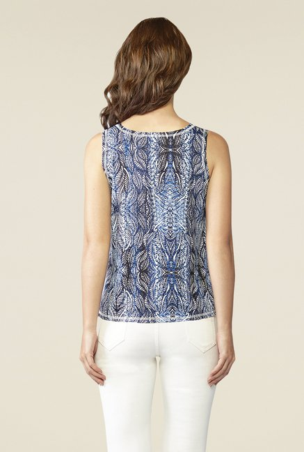 AND Blue & Black Printed Top