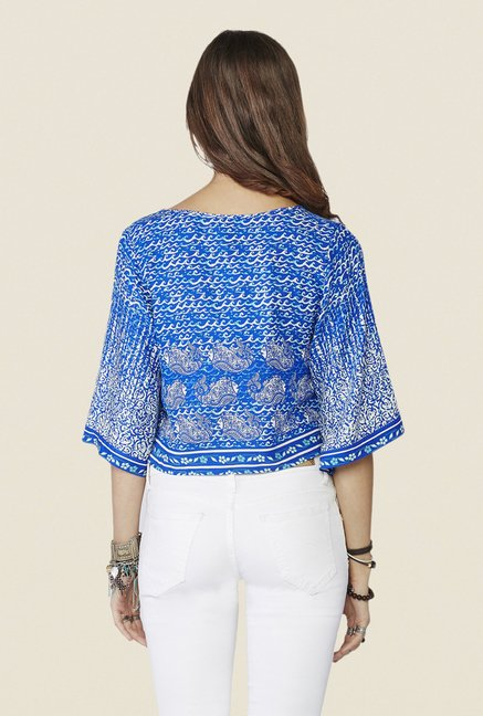 Global Desi Dark Blue Printed Kimono-sleeved Top