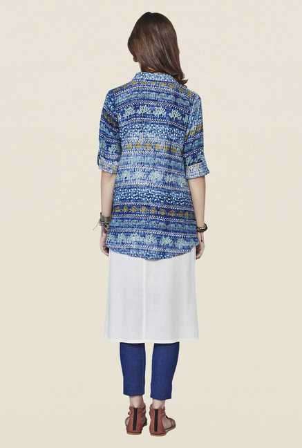 Global Desi Dark Blue Printed Shirt Collar Top