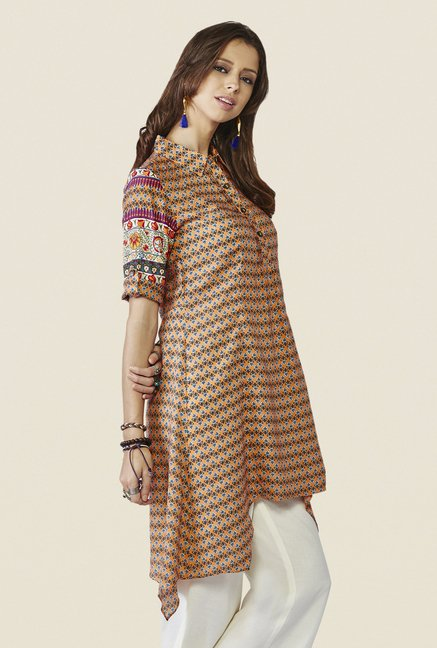 Global Desi Orange Floral Print Tunic