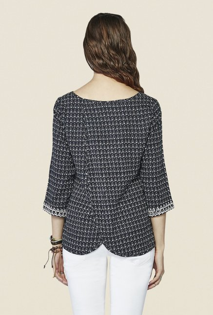 Global Desi Black Geometric Print Top