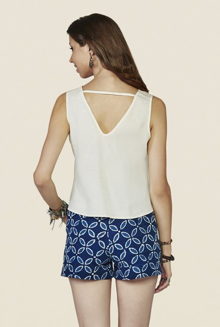 Global Desi Off-white Embroidered Sleeveless Top
