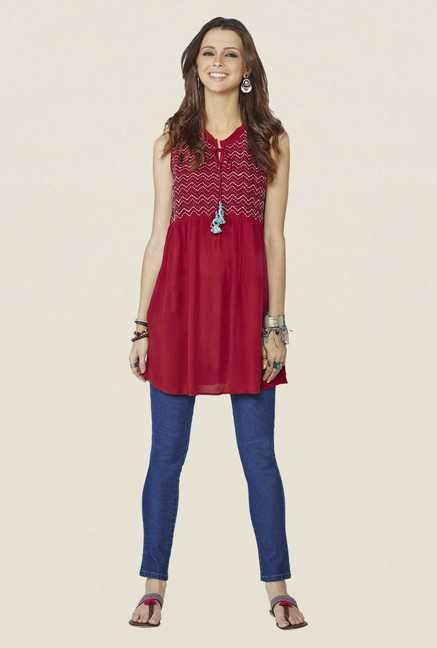 Global Desi Maroon Printed Top