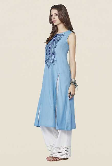 Global Desi Blue Solid Kurta