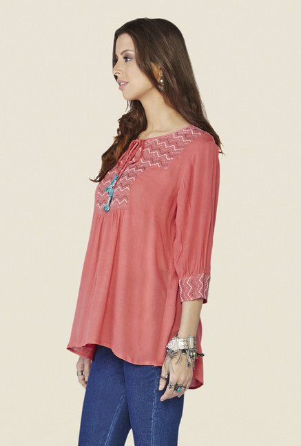Global Desi Peach Solid Top