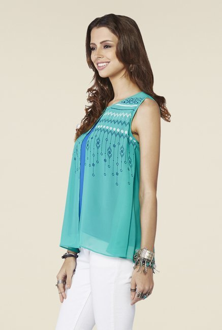 Global Desi Turquoise Printed Top