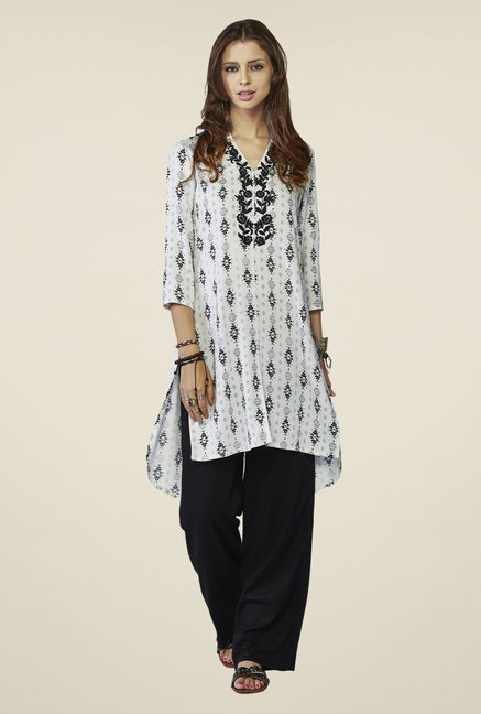 Global Desi Off-white Printed Kurta