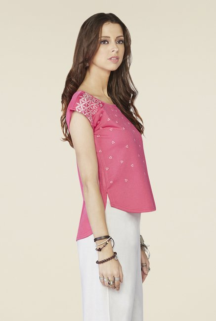 Global Desi Pink Geometric Print Cap-sleeved Top