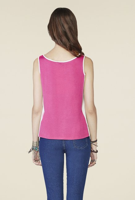 Global Desi Pink Geometric Print Sleeveless Top