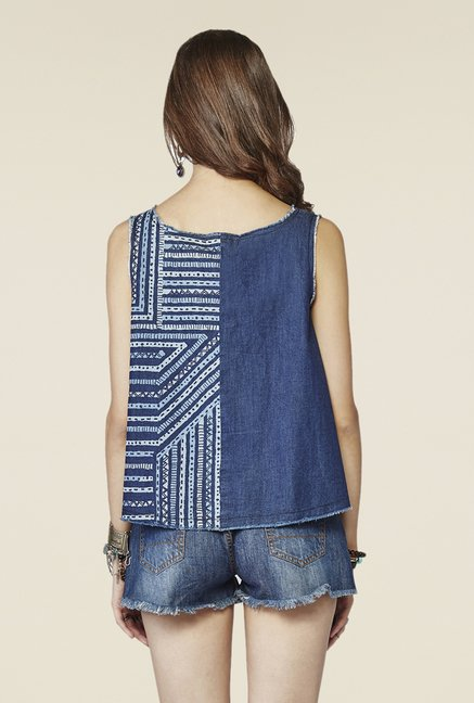 Global Desi Blue Printed Sleeveless Top
