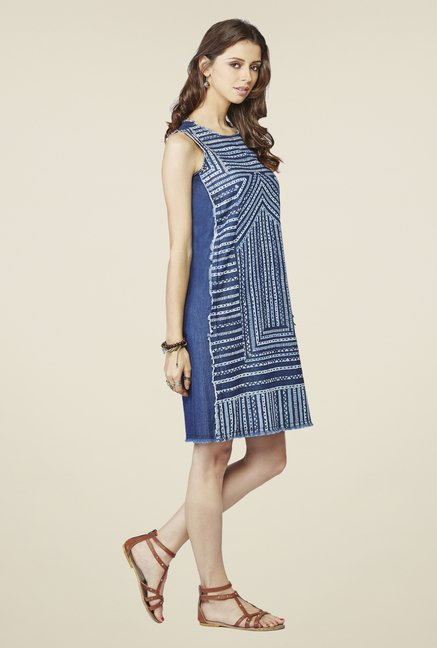 Global Desi Blue Printed Tunic