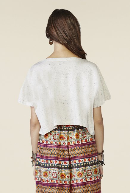 Global Desi Off-white Textured Top