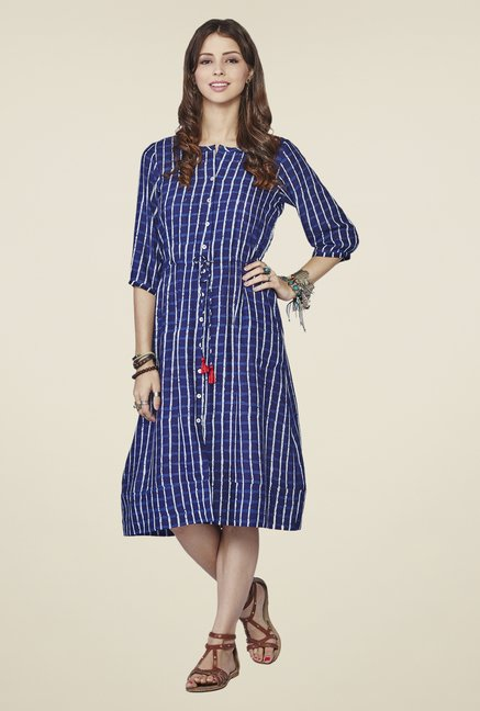 Global Desi Blue Iris Midi Dress
