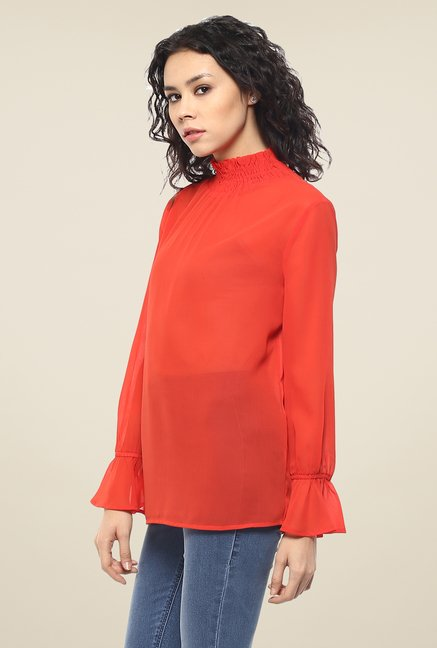 Femella Orange Smocked Neck Top