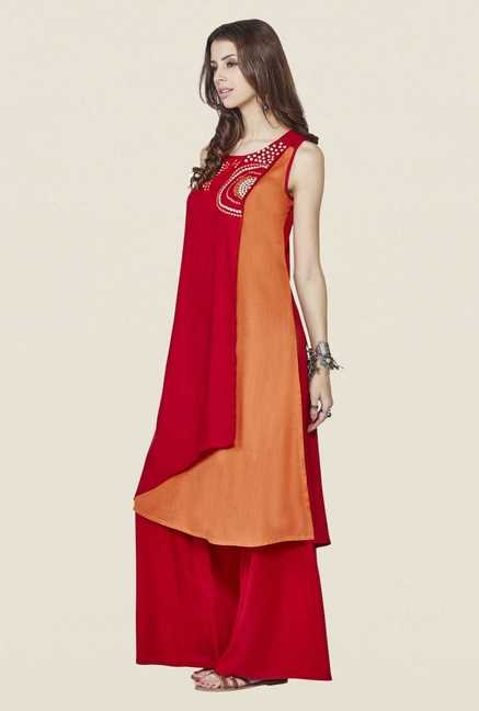 Global Desi Red Embroidered Kurta