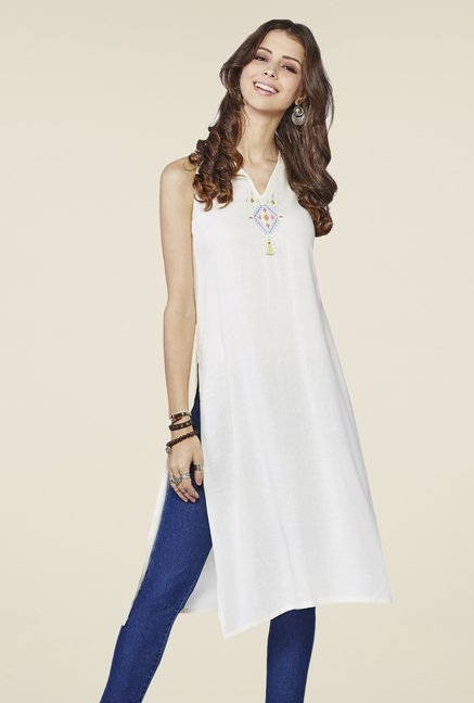 Global Desi Off-white Solid Sleeveless Kurta