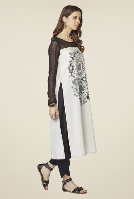 Global Desi Off-white & Black Printed Kurta