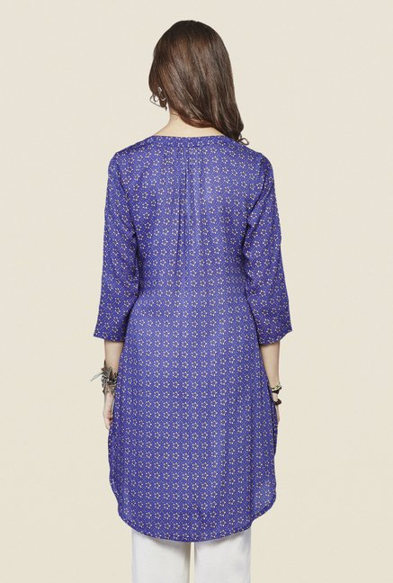 Global Desi Dark Blue Floral Print Kurta