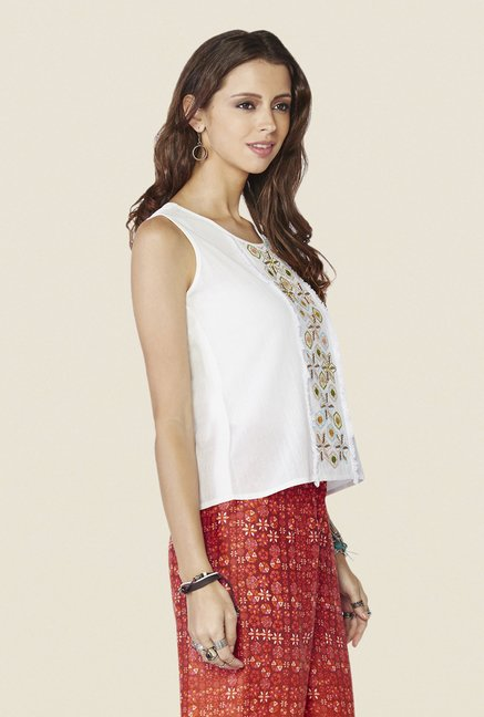 Global Desi Off-white Embroidered Top