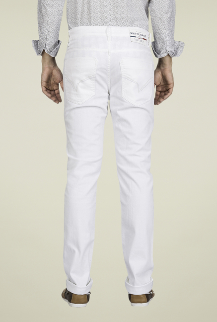 Mufti White Raw Denim Jeans