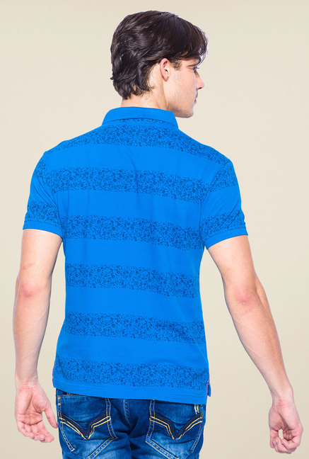 Mufti Blue Slim Fit Polo T Shirt