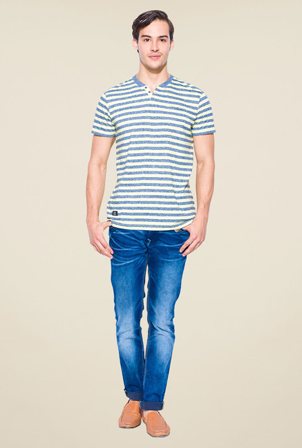 Mufti Blue Slim Fit Round Neck T Shirt